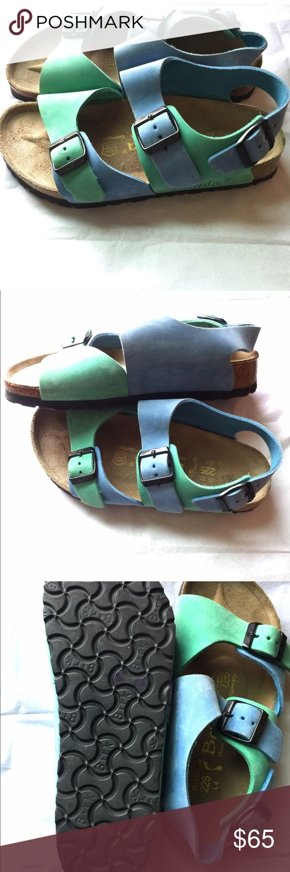 Birkenstock Betula sandals size 4 35 Super cute Betula by Birkenstock sandals size 4 35 worn only once!! Colors are blue and green! Super cute! Spring will be here before you know it! Birkenstock Shoes Sandals