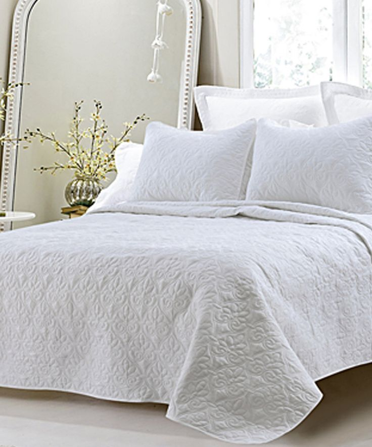 Take a look at this White Oversized-3pc Quilted Coverlet Set today!