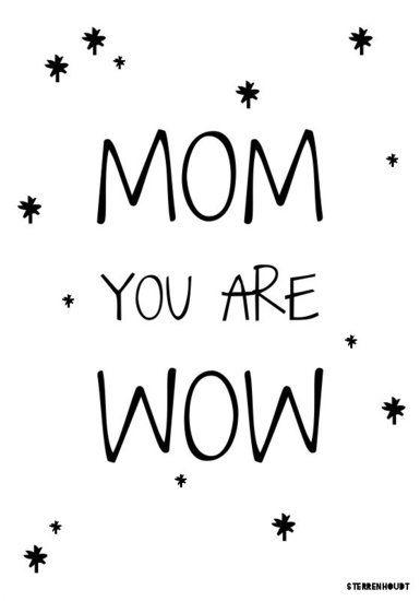 Kaart | Mom You Are Wow | Sterrenhoudt | Wit - Sterrenhoudt |Designd With Love|