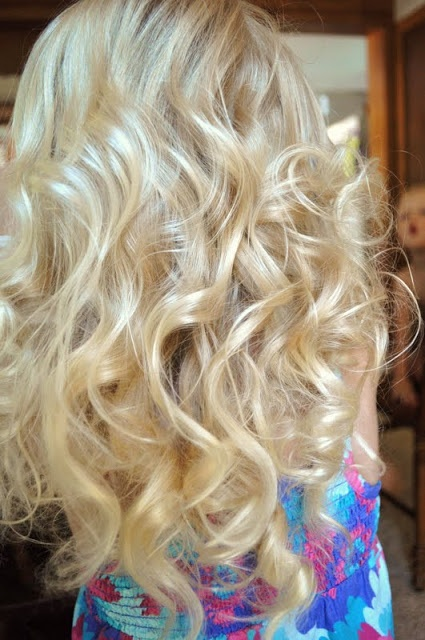 rag curls-my mom did this to my hair all the time when I was little.  I used to hate them!  Can't wait to put them in Shiloh's hair...lol!