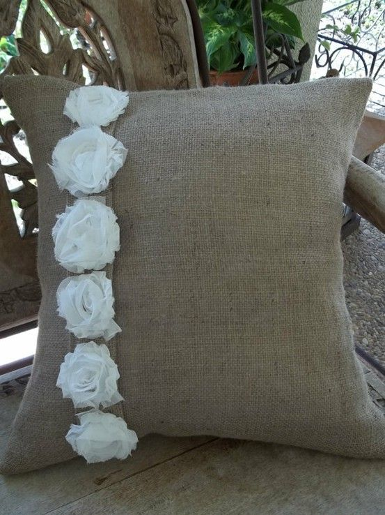 Burlap pillow with fabric roses, great craft site