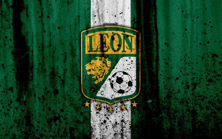 Download wallpapers 4k, FC Leon, grunge, Liga MX, soccer, art, Primera Division, football club, Mexico, Leon, stone texture, Leon FC