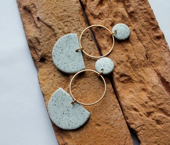 Modern Earrings Minimalism earrings Statement Earrings Sweater  Polymer Clay Earrings