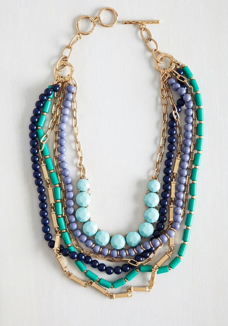 Fly Me to the Lagoon Necklace in Shoreline. Find a coastal state of mind with this colorfully beaded necklace draped around your neck. #blue #modcloth