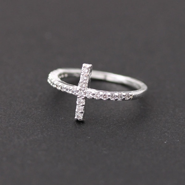 53bed00c2 Sterling silver, sideways cross ring with crystals   Accessories   Jewelry,  Sideways cross, Rings