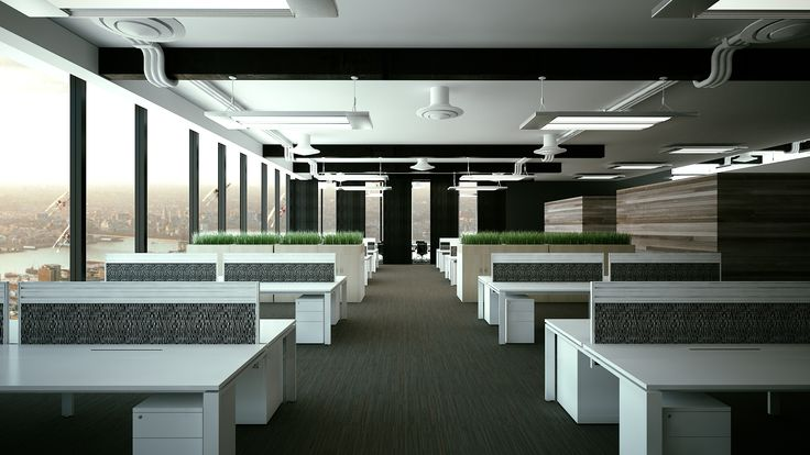 Office Interior Design with white sqStation work benches and storage planter boxes from @howimports #interior #office #workspace #architecture #commercial
