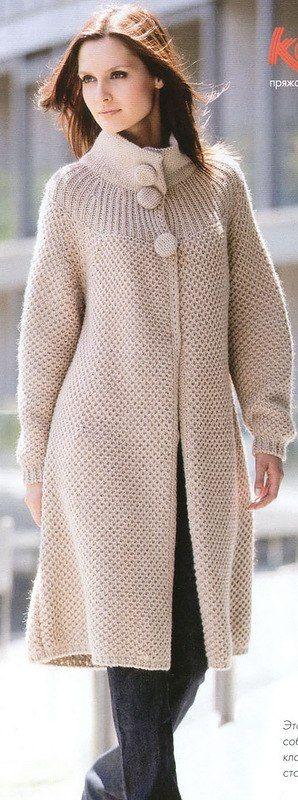 Пальто спицами схема. Как вязать пальто спицами. |