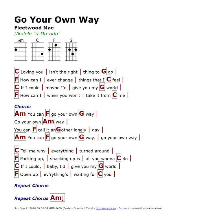 Go Your Own Way (Fleetwood Mac) - http://myuke.ca