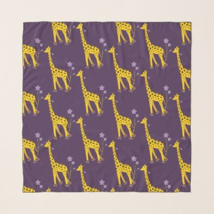 Purple Cute Funny Skating Cartoon Giraffe Pattern Scarf - patterns pattern special unique design gift idea diy