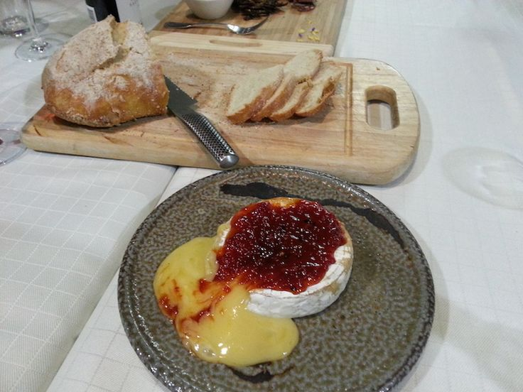 Oven baked Brie with Geoff Jansz Roasted Capsicum Jam and Croutons
