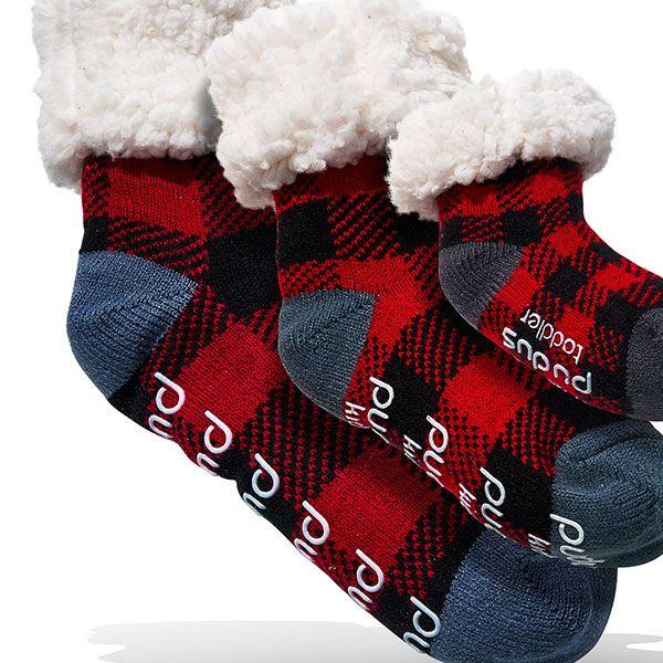 PUDUS Lumberjack Red and Black Toddler Slipper Socks