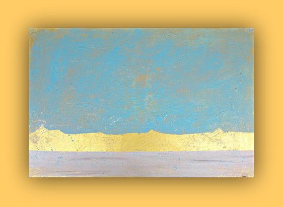 Original Abstract Art painting - Large wall art - peaceful home decor - Light Blue and Gold art on canvas - 24x36