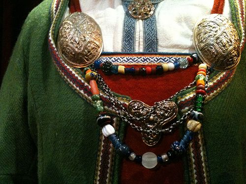 Woman's outfit on display at the Viking Museum Lofoten