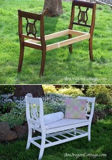 Скамья из сломанных стульев. Отличный способ спасти старые сломанные стулья.