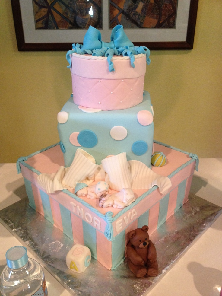 Twin Baby Shower Diaper Cakes