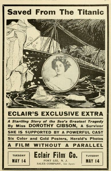 """""""Saved from the Titanic"""" was the first film made about the #Titanic disaster. It starred and was written by actress Dorothy Gibson and released just 29 days after the disaster. The only known copy of the film was destroyed in a vault fire in 1914, making it an extremely desirable and important lost film."""
