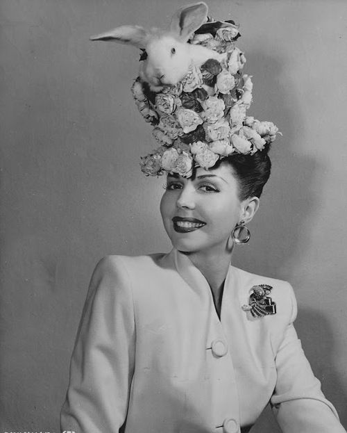 Ann Miller in her bunny topped Easter bonnet, 1948. #vintage #1940s #hats #actresses #rabbits #Easter