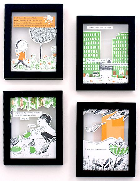 collaged book pages + glass frames