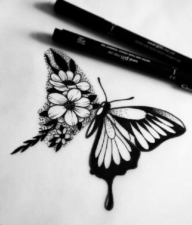 Tt Half Flower Half Butterfly Daisy Butterfly Tattoo Small Tattoos Name Flower Tattoo