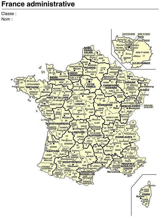 14 cartes de France (relief, régions, fleuves, villes,....) au format image (jpeg) à intégrer à vos documents.