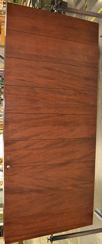 All Fir Horizontal plank Flush Door in custom Stain finish