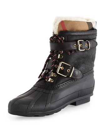 Windmere Check Weather Boot, Black by Burberry at Neiman Marcus.