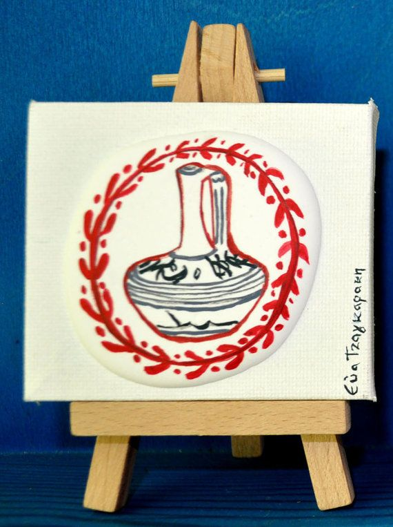 No.1 / Bearing cap with mini canvas, 12x8cm, mixed media/collage. Original paintings inspired by Ancient Greece by Eva Tzagaraki.