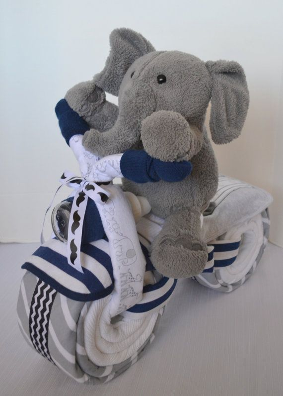 Motorcycle Diaper Cake, Baby Shower Gift, Little Man, Baby Boy Gift, Mustache, Elephant Stuffed Animal,Jungle  New Baby