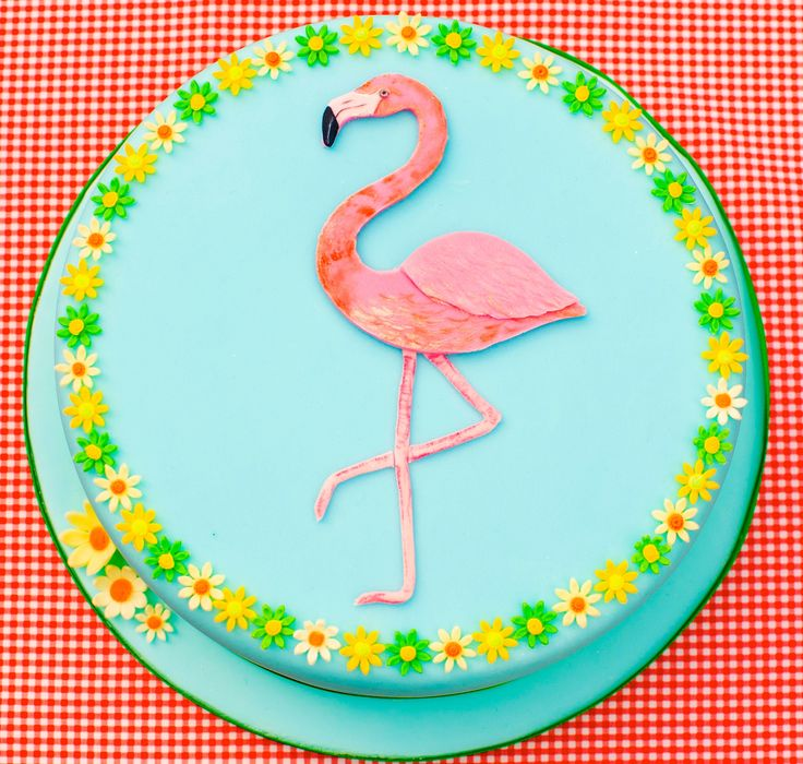 Flamingo cake. Handmade  hand painted by Lady Luck's House of Cakes x