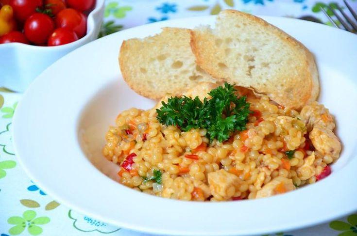 Кулинарный рецепт Птитим с курицей и овощами с фото