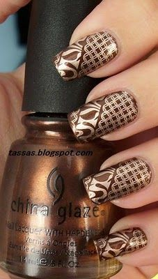 Bronze! Very pretty for fall. I will never get my stamping that perfect!