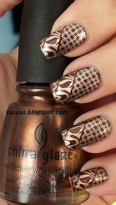 Funky: Nails Art, Gold Nails, Nails Design, Color Combos, China Glaze, Brown Nails, Nails Ideas, Nails Polish, Fancy Nails