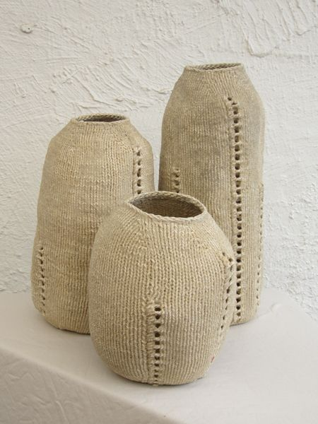 Jane Whitten's knitted and sanded pots