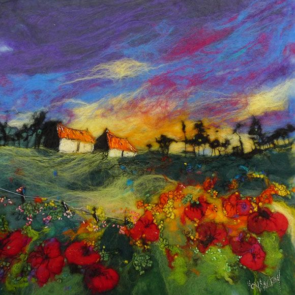 """From her home in the Scottish Borders..♥♥.. Moy Mackay fuels her passion for colour and texture with an unceasing inspiration drawn from her surroundings in the beautiful Tweed Valley, using merino fleece fibres in the same way that a painter uses brushstrokes. The result is a """"felt painting"""" of extraordinary warmth and texture."""