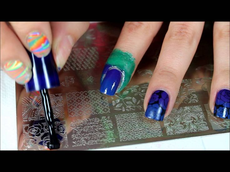 UBER CHIC PLATE 1-02 PURPLE AND BLUE GRADIENT ROSES- NAIL STAMPING DESIGN by Opal Hazlett You can find it here https://youtu.be/ZtAgG4X04A0