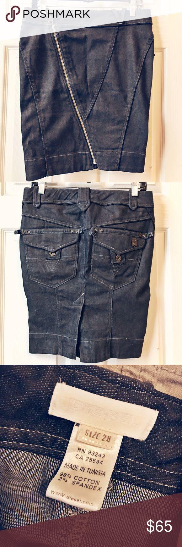 ⚫️DIESEL⚪️Denim Skirt Unique style Denim skirt with asymmetrical shape / diagonal zipper / detailed stitching / stretch and comfortable / worn twice Diesel Skirts
