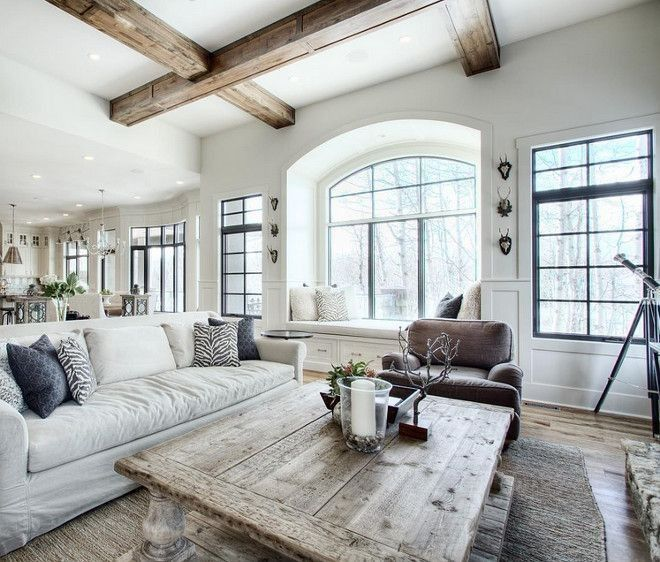 Farmhouse decor, rustic beams, rustic kitchen, open layout, family room, industrial decor, rustic bar stools, couch, brown couch, rug, end table, blankets. modern kitchen, white kitchen, open concept, lighting, rustic lighting, dining room. family room, living room, elegant, home, diy decor, diy home decor, home decor #afflink