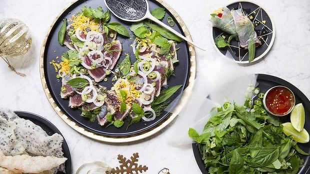 A refreshing recipe for summer: seared tuna with herbs, basil seeds and egg by Karen Martini.