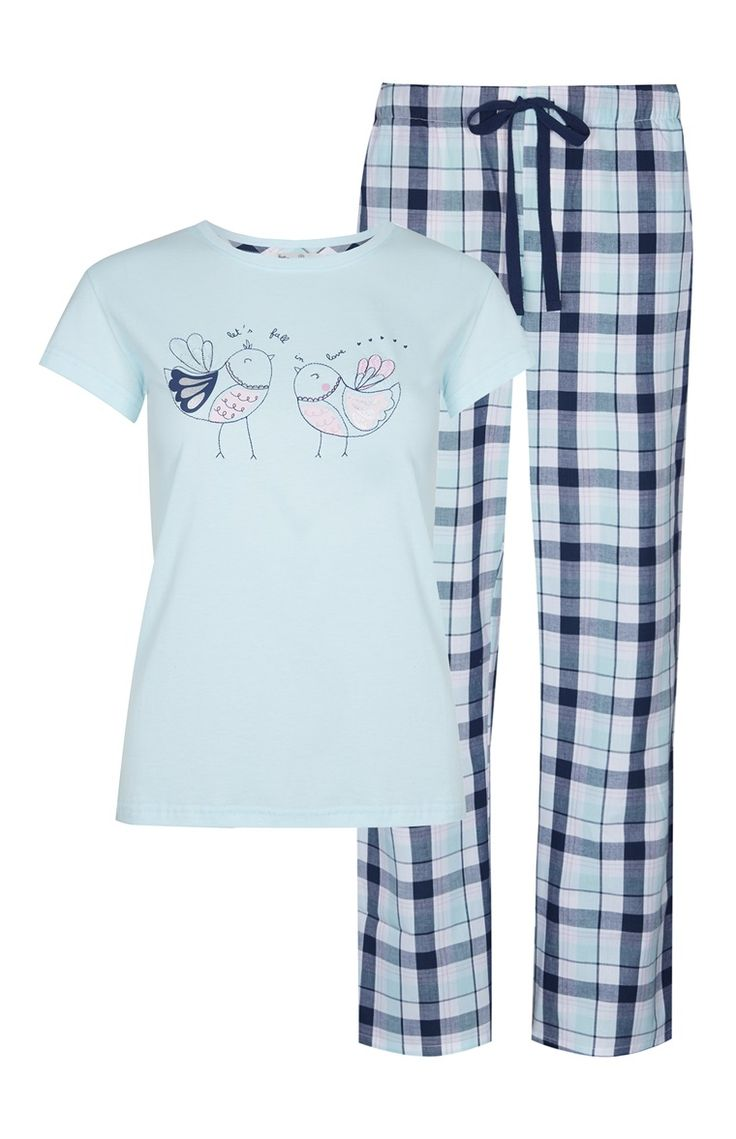 Primark - Pijama azul con pájaros enamorados