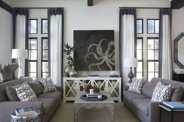 Tracery Interiors - living rooms - chic living rooms, living room, white and gray curtains, white curtains with gray trim, trimmed curtains,...
