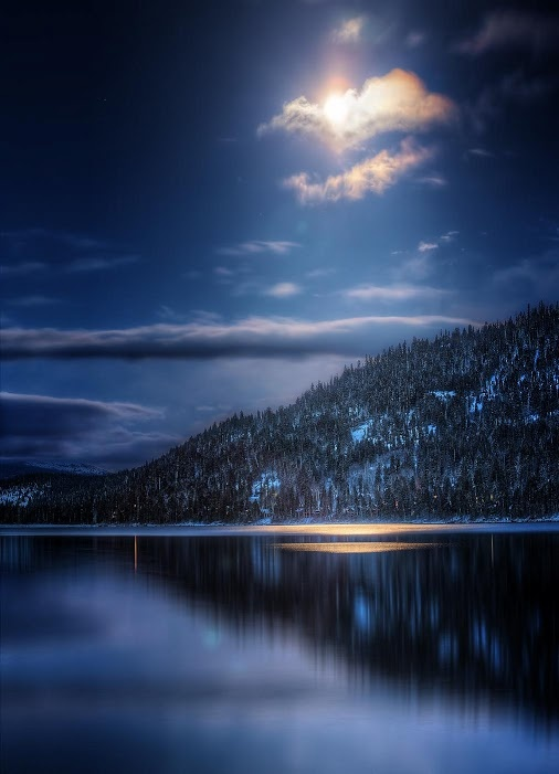 The night light at Tahoe Donner in Truckee, California is beautiful. Visit and take in the beauty of the mountains and lake