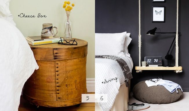 Unique Nightstands - Love this cheese box!  It looks like it's on casters which makes it even BETTER!