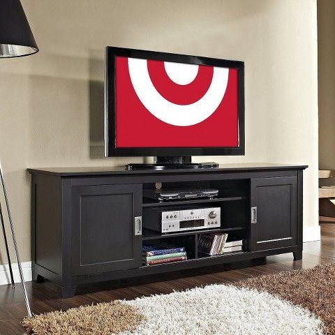 "Sliding Door Wood Console TV Stand - 70"""