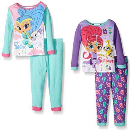 Nickelodeon Shimmer and Shine 4-Piece Girls Pajama Set, Multicolor