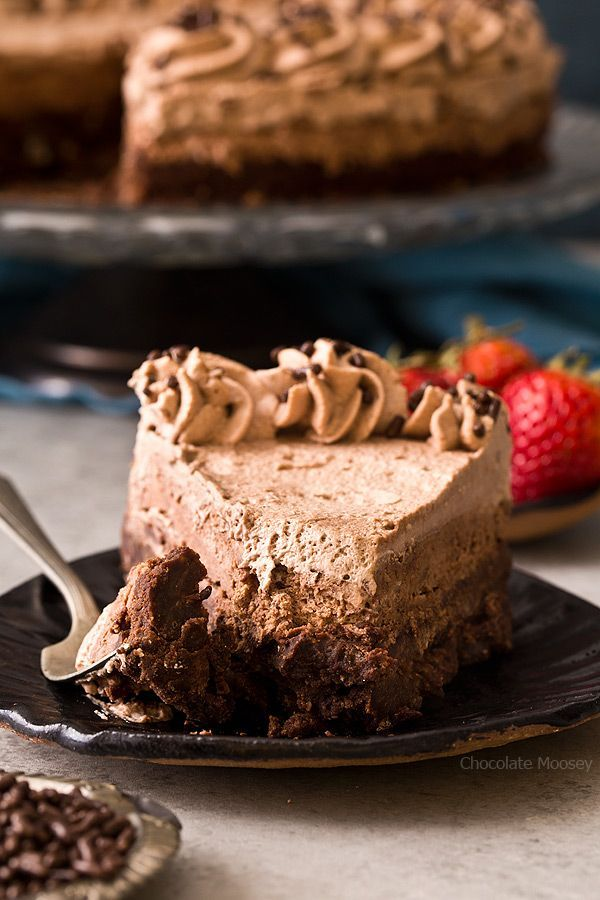 The best way to celebrate any milestone is with a triple chocolate cake: Brownie Bottom Chocolate Mousse Cake with chocolate whipped cream.