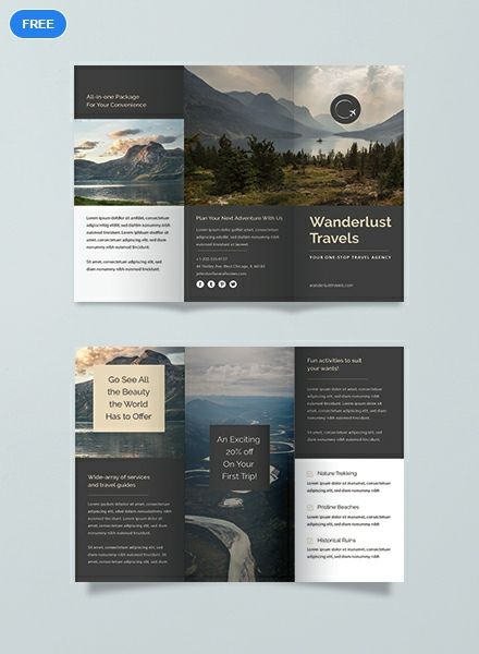 free travel trifold brochure brochure templates design 2019