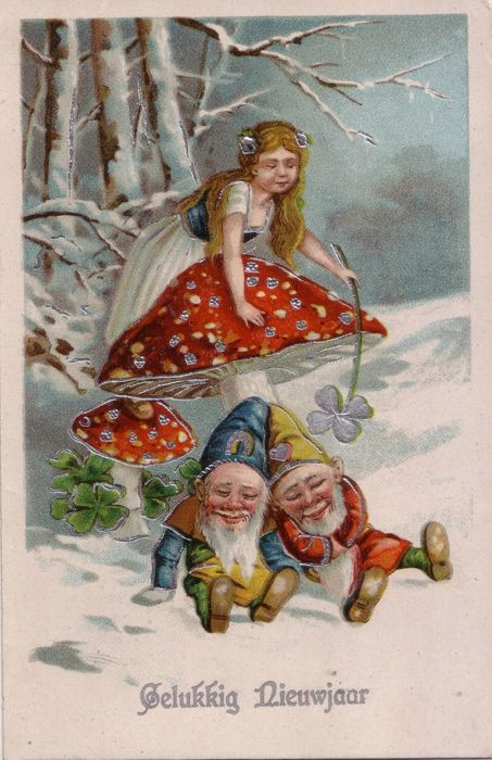 Best of Luck to everyone!  Fairy with sleeping gnomes under a mushroom in the snow
