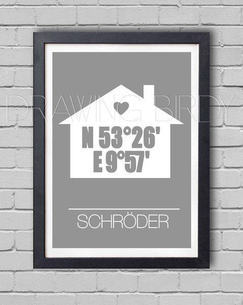 Personalisierter Originaldruck mit den Koordinaten eures Wohnortes.   Perfekt als Geschenk zum Hochzeitstag deiner Freunden oder als ein kleines ...