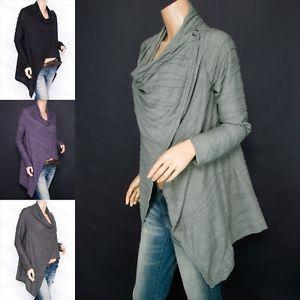 Trendy Asymmetric Hem Draped Neck Long Sleeves Wrap Shirt Blouse