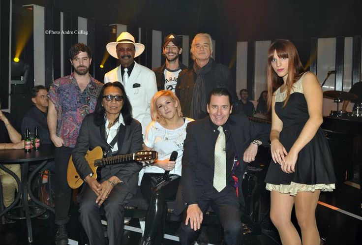 """Jimmy Page with the other participants on """"Later With Jools Holland,"""" including Foals, Band of Horses, Ellie Goulding Larry Graham, Rodrigues and Luisa Sobral, Nov. 16, 2012"""